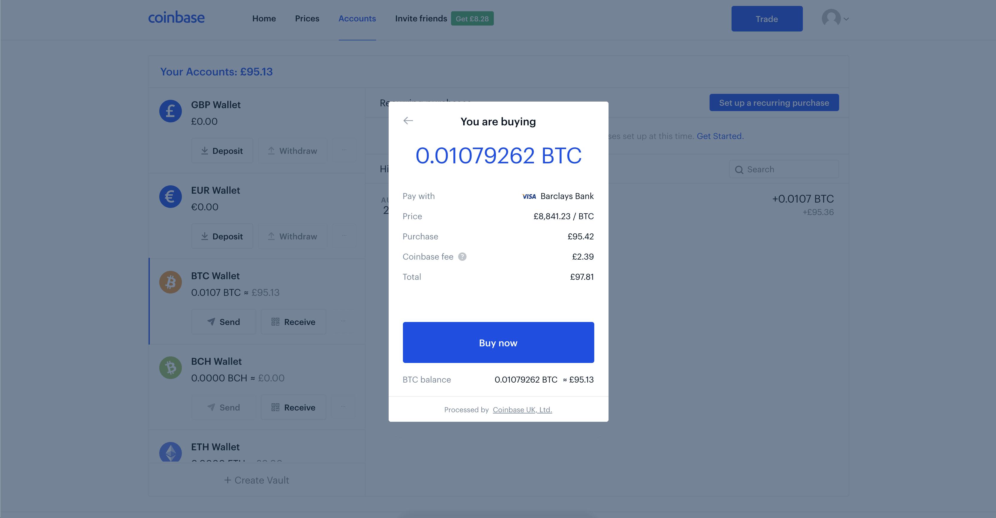 Coinbase Buy Bitcoin Confirm