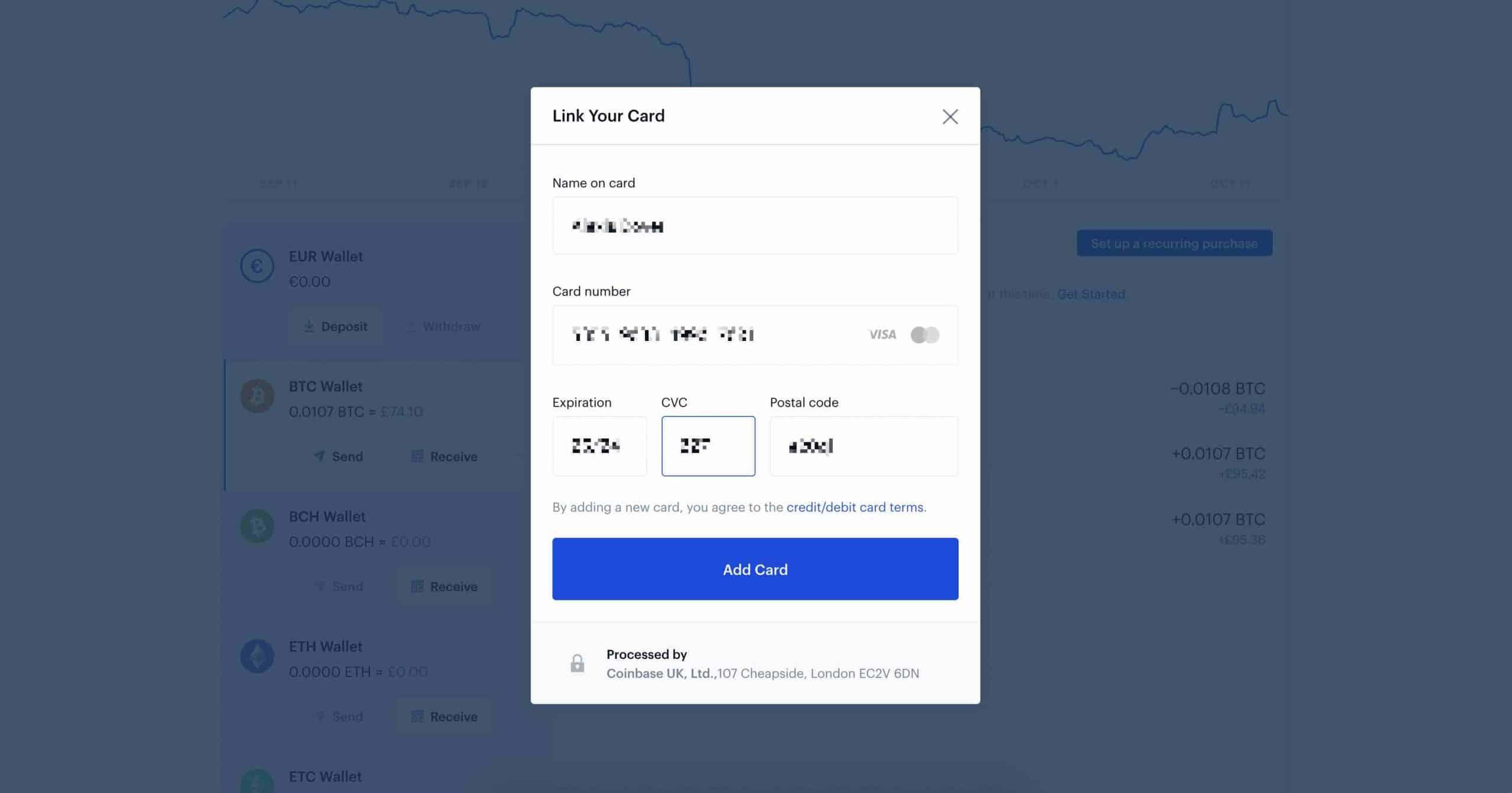 4 Coinbase add card