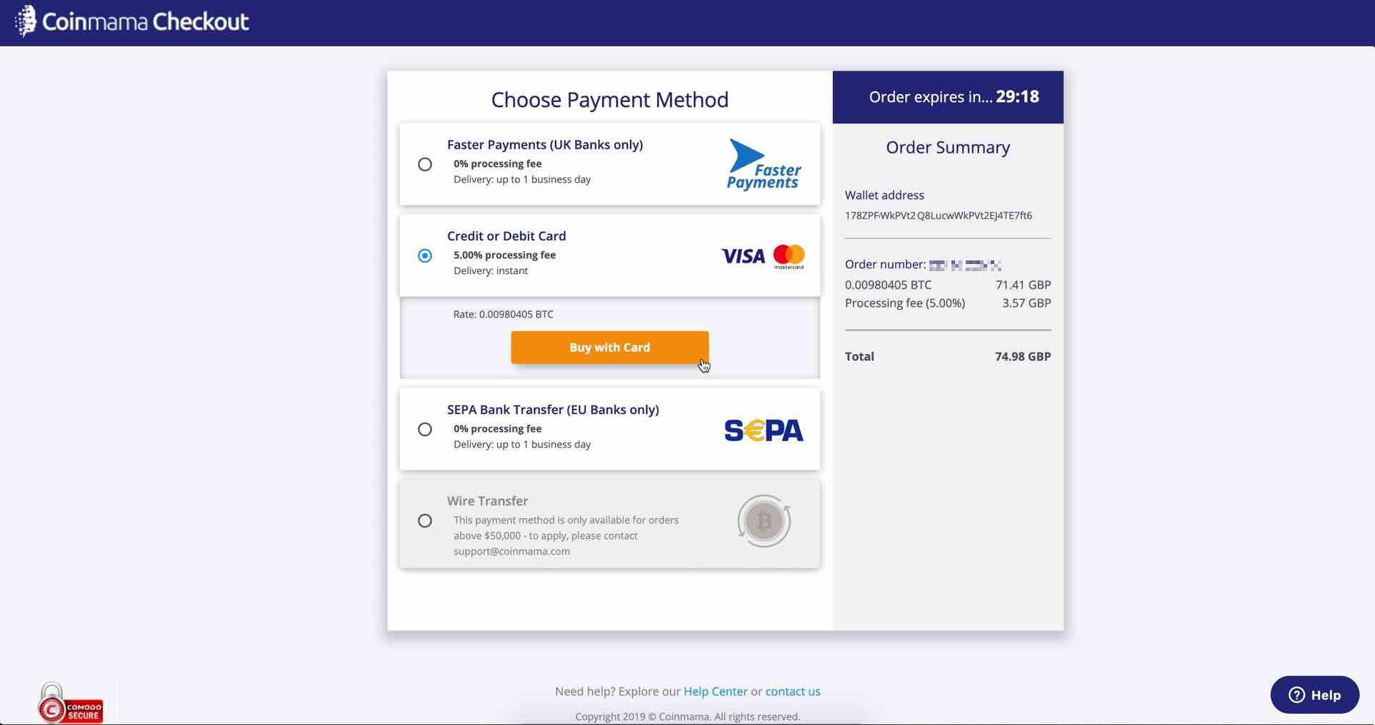 credit card coinmama