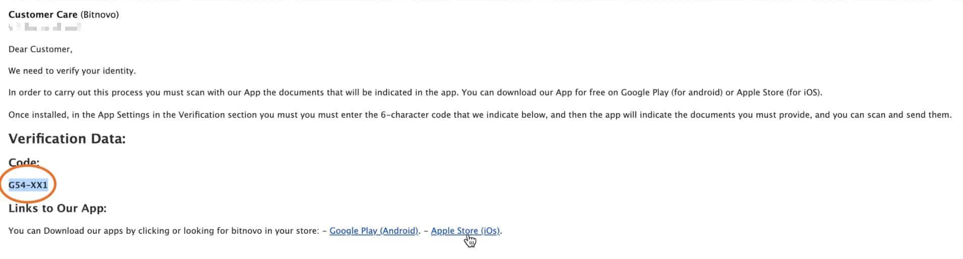 6 bitnovo app code
